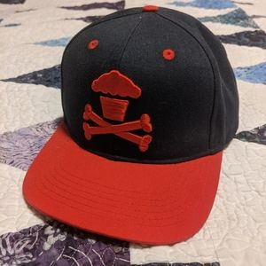 Navy and red flat brim snap back